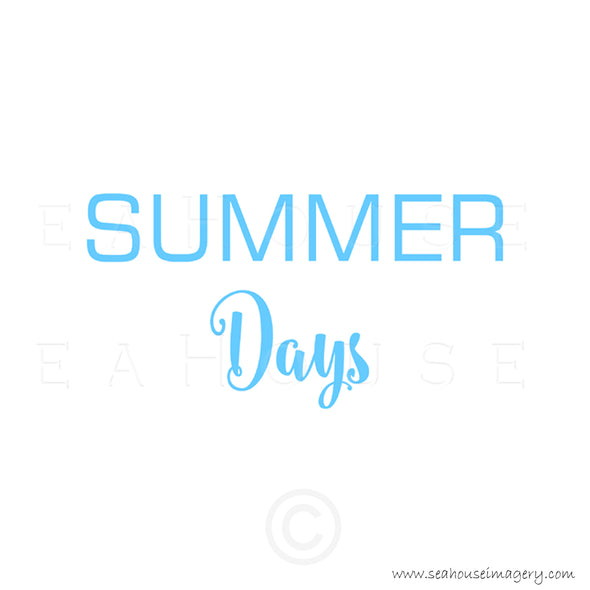WM Summer Days Blue Text Square Size