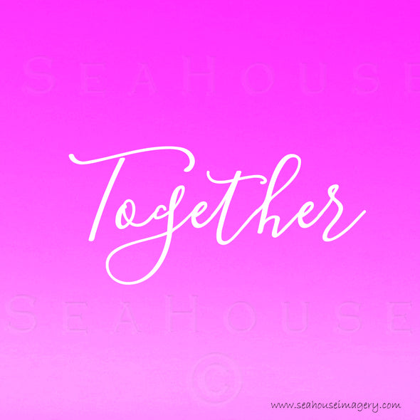 WM Together Pink White Elegant Text Square Size