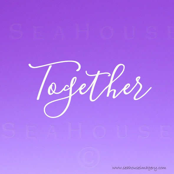 WM Together Purple White Elegant Text Square Size