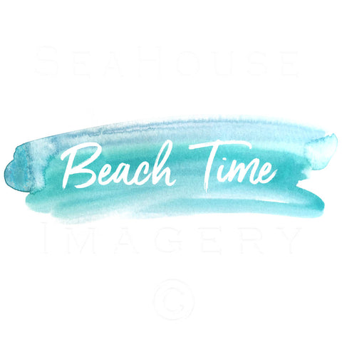 WM Beach Time White Text Blue Watercolour Splash Square Size