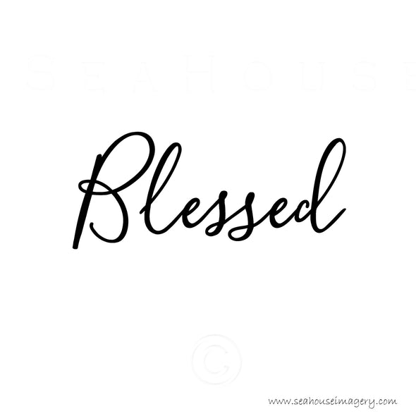 WM Blessed Black Elegant Text Square Size