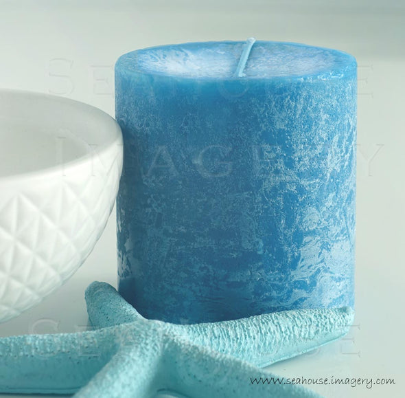 WM EXCLUSIVE USE Blue and White Candle Blue Starfish 7176 Square Size