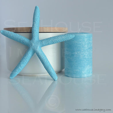 WM Blue Starfish Candle Timber Canister 7434 Square Size