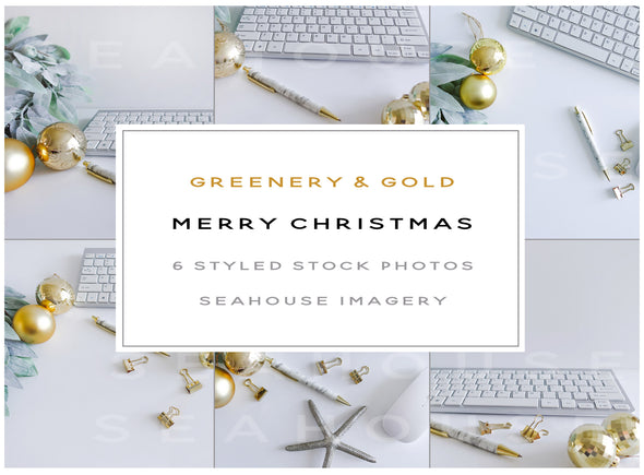 WM Bundle - Merry Christmas Greenery and Gold