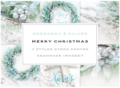 WM Bundle Main Image - Merry Christmas Greenery and Silver