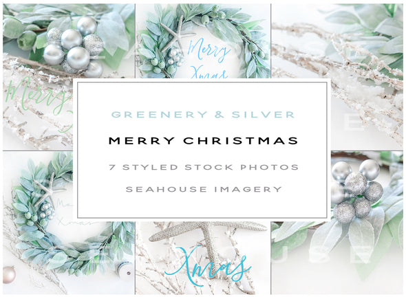 WM EXCLUSIVE USE Bundle Main Image - Merry Christmas Greenery and Silver