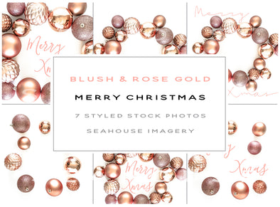 WM Bundle - Merry Christmas Blush and Dusty Rose Gold 6x2 Landscape