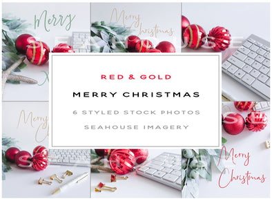 WM Bundle Image Merry Xmas Red and Gold 6x2 Landscape