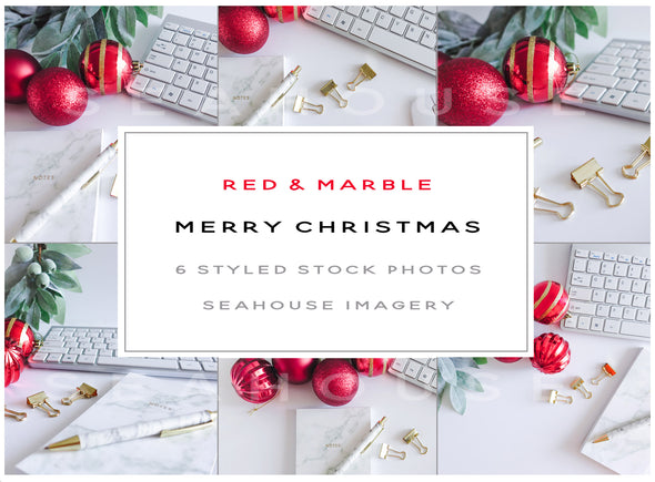 WM Bundle Image Merry Christmas Red and Marble