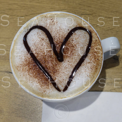 WM Coffee White Cup Latte Art Chocolate Heart 3889 Square Size
