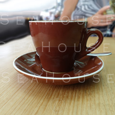 WM Coffee Large Brown Cup and Saucer 6906 Square Size