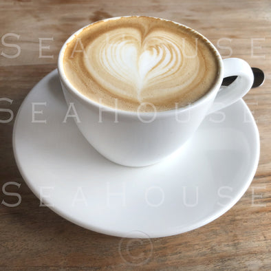 WM EXCLUSIVE USE Coffee White Cup and Saucer Latte Love Heart 7660 Square Size