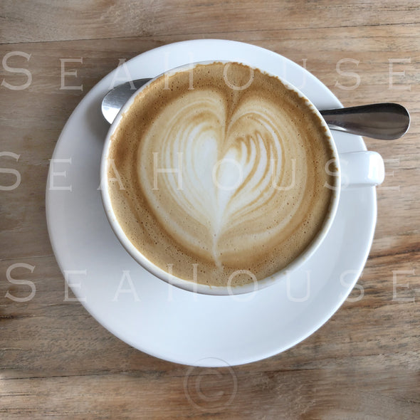 WM Coffee White Cup and Saucer Latte Love Heart 7662 Square Size