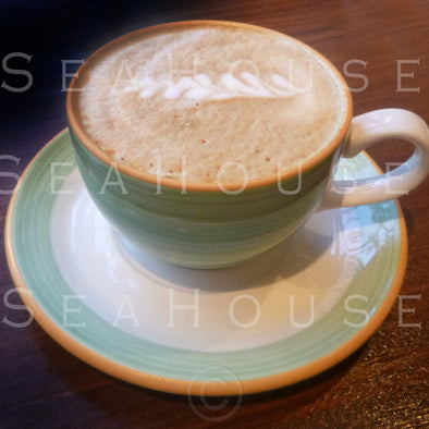 Coffee Light Green Cup and Saucer P0355 Square Size