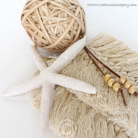 WM BoHo Feathers Starfish Beads Cane Ball 60 Square Size