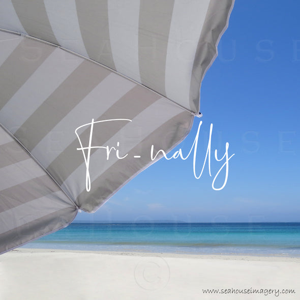 WM EXCLUSIVE USE Fri-nally Beach Umbrella White Sands Blue Sky 5128 1080 x 1080 Square Size