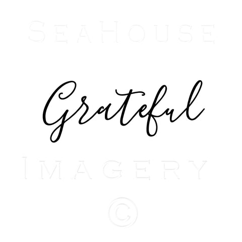 WM Grateful Black Elegant Text Square Size