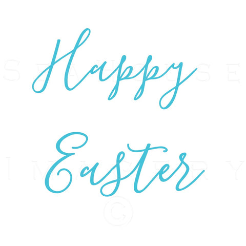 WM Happy Easter Blue Elegant White Square Size