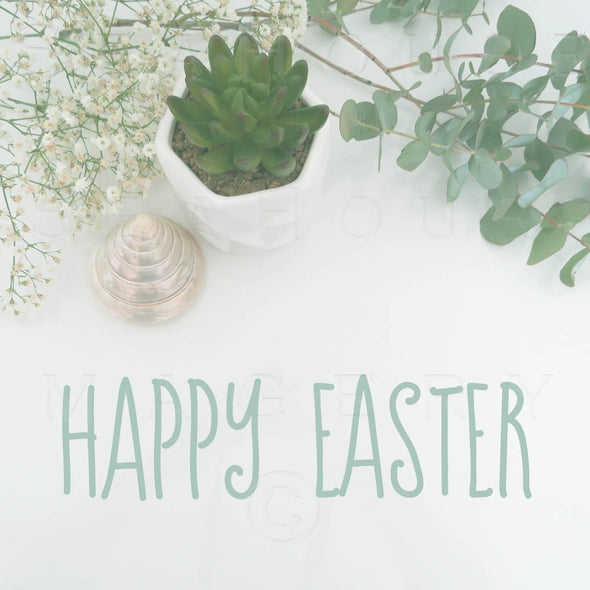 WM EXCLUSIVE USE Happy Easter Eucalyptus Green Text 7299 Square Size
