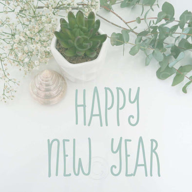 WM Happy New Year Eucalyptus Green Text 7299 Square Size