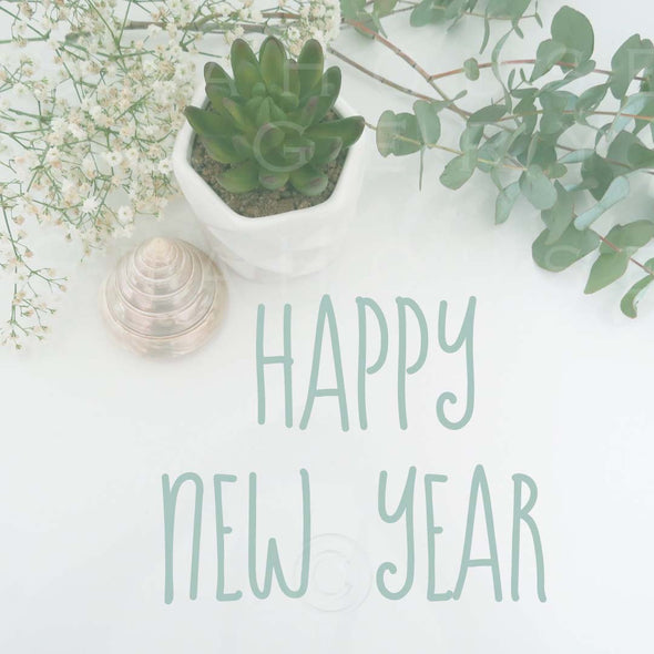 WM EXCLUSIVE USE Happy New Year Eucalyptus Green Text 7299 Square Size