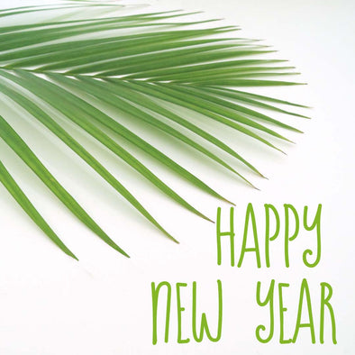 WM Happy New Year Green Text Palm 5896 Square Size