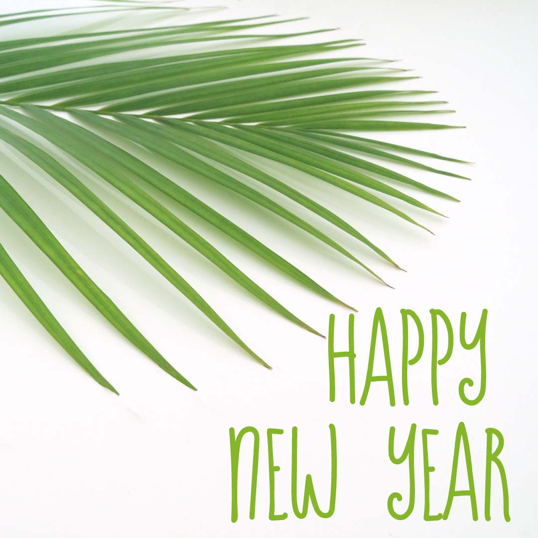 EXCLUSIVE USE Happy New Year Green Text Palm 5896 Square Size