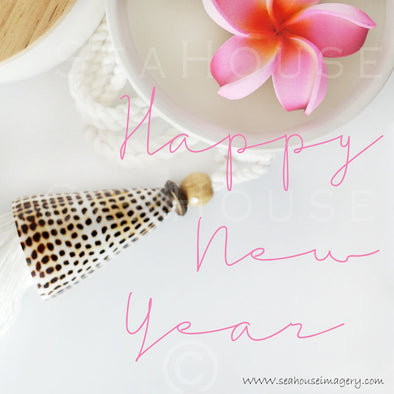 WM Happy New Year Pink Frangipani Shell Pink Text 9341 Square Size