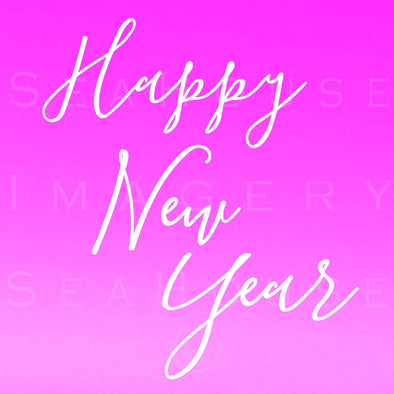 WM Happy New Year White Elegant Pink Square Size