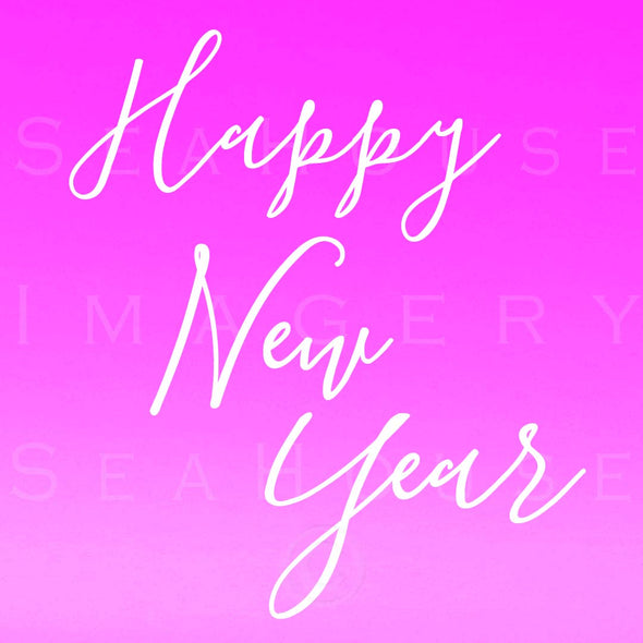 WM EXCLUSIVE USE Happy New Year White Elegant Pink Square Size