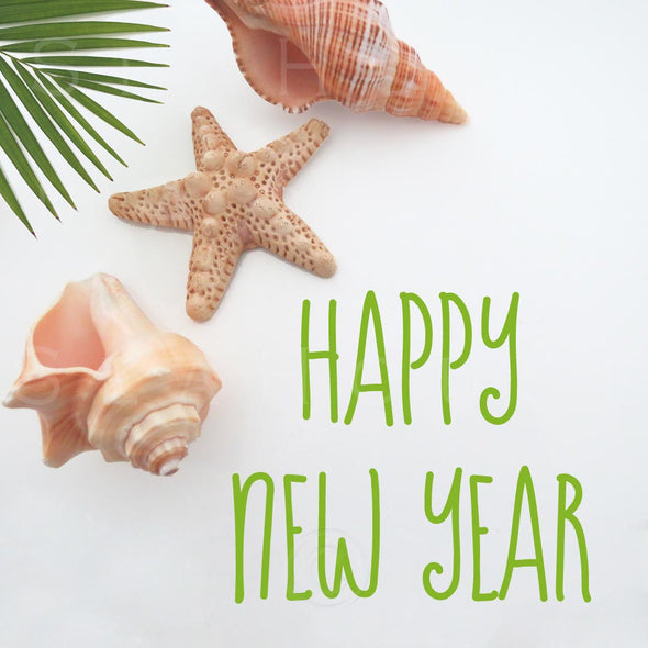 WM EXCLUSIVE USE Happy New Year Green Text Shells Palm 5588 Square Size