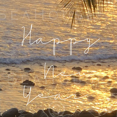 WM Happy New Year Sunset Rocky Shore Palm White Text 7880 Square Size