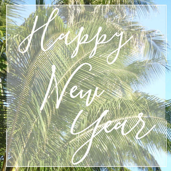 WM Happy New Year White Text Palm P259 Square Size