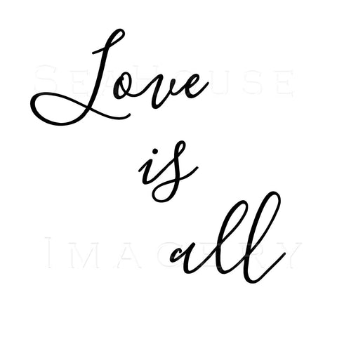 WM Love Is All Black Elegant Text Square Size