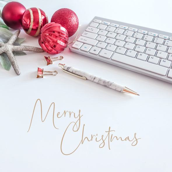WM EXCLUSIVE USE Merry Christmas Gold Text Red Gold Baubles Greenery Marble Pen Keyboard 1709 Square Size