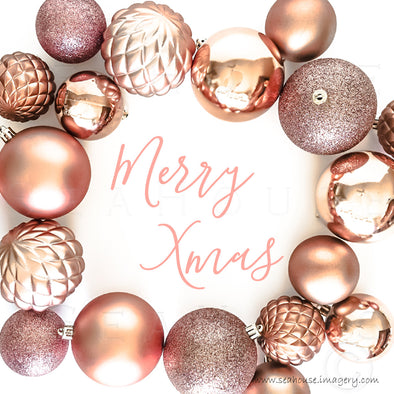 WM Merry Xmas Along Edges Pink Elegant Text Inside Blush Rose Gold Baubles 1130 Square Size
