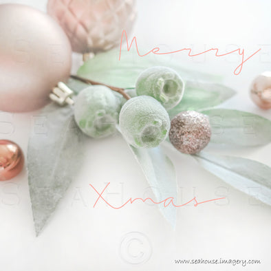WM Merry Xmas Gum Nuts Blush Text Greenery Blush Rose Gold Baubles 1370 Square Size