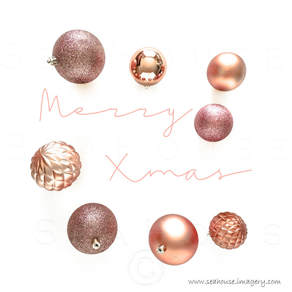 WM Merry Xmas Elegant Pink Text On Sides Blush Rose Gold Baubles 1147 Square Size