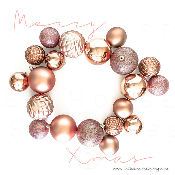WM EXCLUSIVE USE Merry Xmas Pink Elegant Text Outside Blush Rose Gold Baubles 1130 Square Size