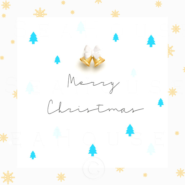 WM Merry Xmas Gold Bells and Snowflakes Blue Trees Black Elegant Text Square Size