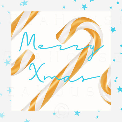 WM Merry Xmas Gold Candy Cane Blue Stars Blue Elegant Text Square Size