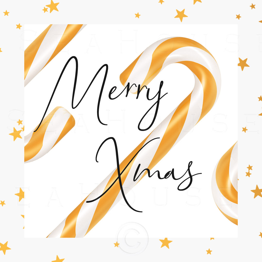 WM Merry Xmas Gold Candy Cane and Stars Black Elegant Text Square Size