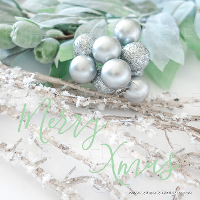 WMMerry Xmas Green Text Snow Twig Silver Baubles 1251 Square Size