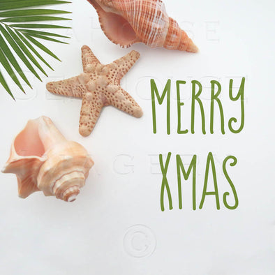 WM Merry Xmas Green Text Shells Palm 5588 Square Size