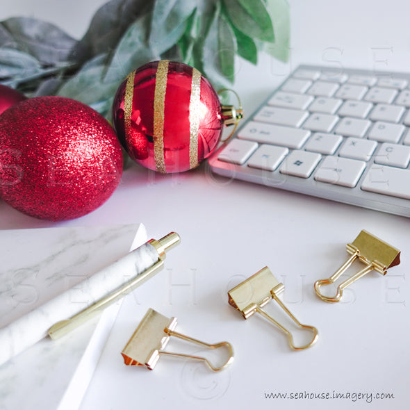 WM Merry Xmas Greenery Red Baubles Marble Notepad Pen Keyboard Gold Clips 1669 Square