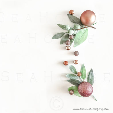 WM Merry Xmas Greenery x 2 Blush Rose Gold Baubles Gum Nuts No Text 1413 Square Size