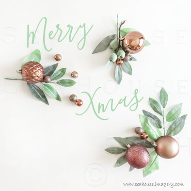 WM Merry Xmas Greenery x 3 Green Text White Space Blush Rose Gold Baubles 1355 Square Size