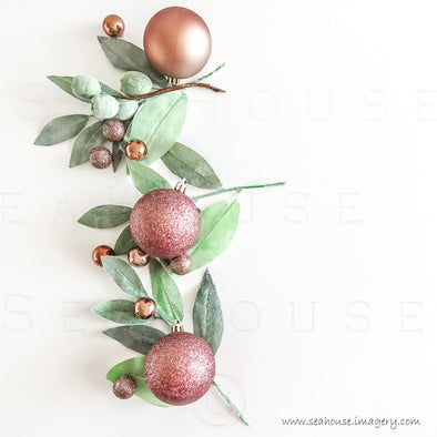 WM Merry Xmas Greenery x 3 Blush Rose Gold Baubles No Text 1410 Square Size