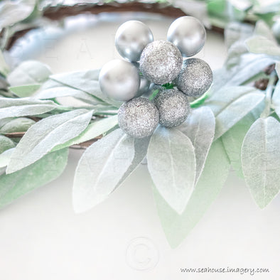WM Merry Xmas No Text Greenery Silver Baubles 1246 Square Size
