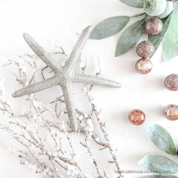 WM EXCLUSIVE USE Merry Xmas Starfish Snow Twig Greenery Small Blush Baubles No Text 1426 Square Size